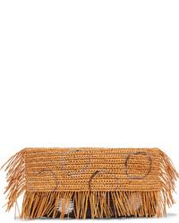 Sensi Studio Frayed Woven Toquilla Straw Clutch Sand