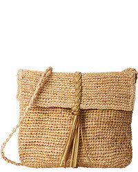 Tan Straw Crossbody Bag