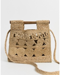 Mango Straw Shoulder Bag With Wooden Handle In Beige