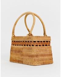 ASOS DESIGN Rattan Structured Basket Bag