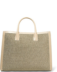 AERIN Rin Leather Trimmed Woven Straw Tote Mushroom