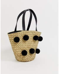 South Beach Straw Spotted Tote Bag