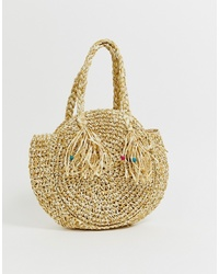 South Beach Structured Round Straw Beach Bag With Short Handle