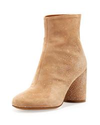 Suede sparkle ankle boots flesh medium 140099