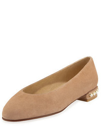 Tan Suede Ballerina Shoes