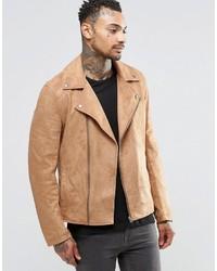Asos Brand Faux Suede Biker Jacket In Tan