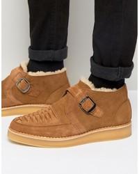 Khiris suede shearling look wedge creeper boots medium 958798