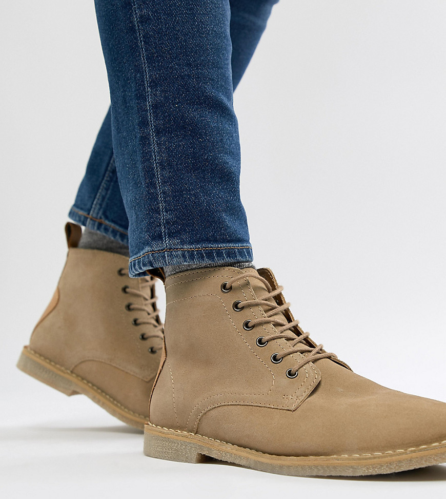 best place shoes for cheap colours and striking Wide Fit Desert Boots In Stone Suede With Leather Detail