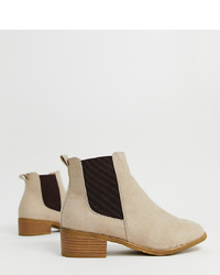 New Look Wide Fit Flat Chelsea Boot In Camel