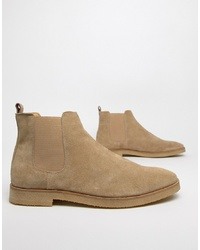 WALK LONDON Hornchurch Chelsea Boots In Stone Suede
