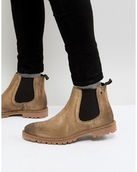Base London Turret Suede Chelsea Boots In Stone
