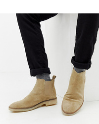 ASOS DESIGN Wide Fit Chelsea Boots In Stone Suede With Sole