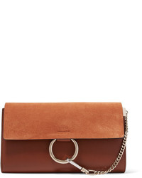 Chloé Faye Leather And Suede Clutch Tan