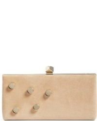 Jewelled collection celeste buttons suede clutch brown medium 951808