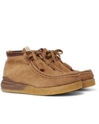 VISVIM Beuys Trekker Folk Leather Trimmed Suede Boots