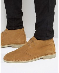Asos Desert Boots In Tan Suede