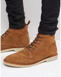 Asos High Desert Boots In Tan Suede