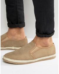 Frank Wright Slip On Espadrilles Shoes Beige Suede