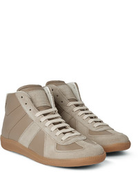 Replica panelled leather and suede high top sneakers medium 321156