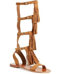 Tan Suede Knee High Gladiator Sandals