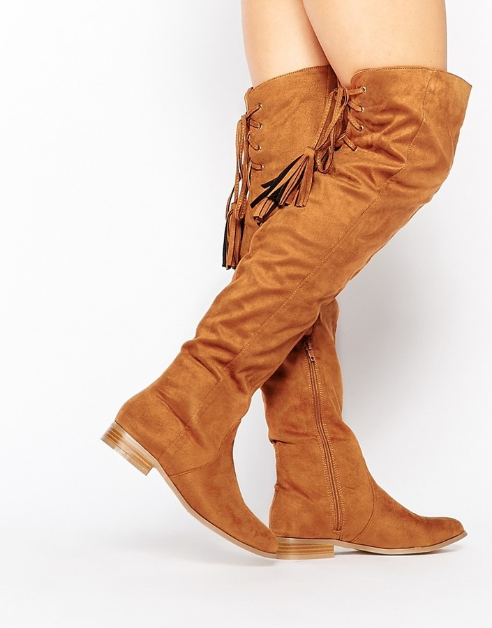8a1bddbde27 ... Tan Suede Over The Knee Boots Missguided Flat Over The Knee Boot ...
