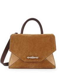 Obsedia top handle small suede satchel bag brown tan medium 236123