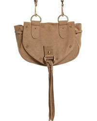 Small collins leather suede messenger bag beige medium 951568