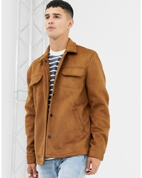 Farah Finley Faux Suede Jacket In Tan