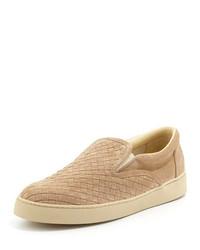 Tan Suede Slip-on Sneakers