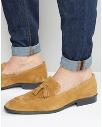 Asos Loafers In Tan Suede With Tassel