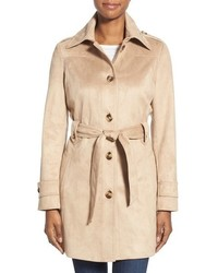 Belted faux suede trench coat medium 517189
