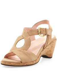 Tan Suede Wedge Sandals