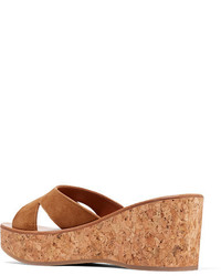 72c9e17874ae ... K Jacques St Tropez Kobe Suede And Cork Wedge Sandals Tan ...