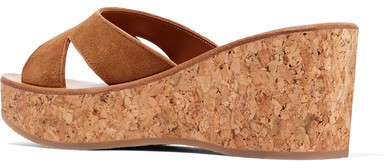 e0fd89e92940 K Jacques St Tropez Kobe Suede And Cork Wedge Sandals Tan