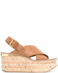 Tan camille 80 leather wedges medium 3676969