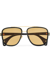 Gucci Aviator Style Gold Tone And Acetate Sunglasses
