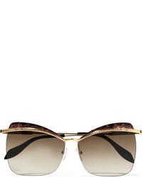 Alexander McQueen Cat Eye Tortoiseshell Acetate And Gold Tone Sunglasses Brown