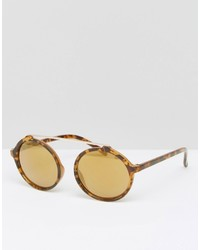 Jeepers Peepers Round Sunglasses In Tort With Yellow Lens