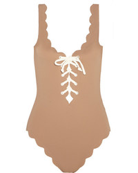 Marysia Swim Marysia Palm Springs Lace Up Scalloped Swimsuit Mushroom