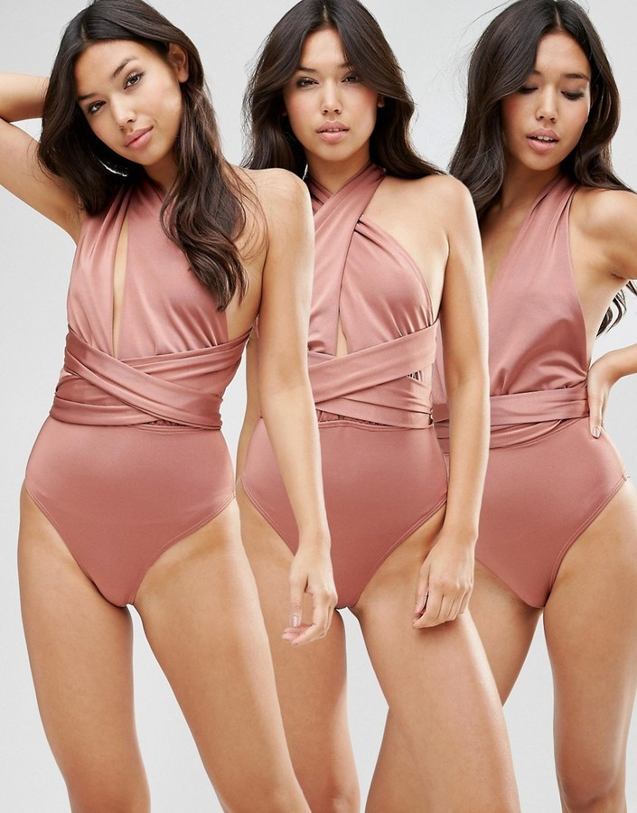 fc1b32fb1d3eb Multiway Swimsuit. Tan Swimsuit by Asos