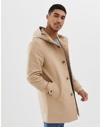 ASOS DESIGN Hooded Trench Coat With Shower Resistance In Stone