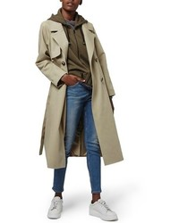 Topshop Hybrid Trench Coat With Hoodie