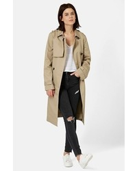 Topshop Longline Double Breasted Trench Coat