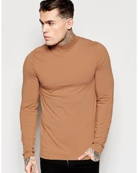 Brand muscle long sleeve t shirt with turtleneck in camel medium 395368