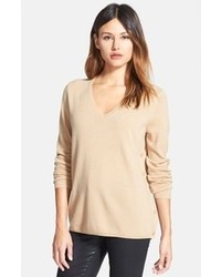 Tan V-neck Sweater