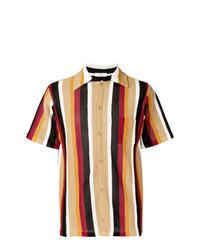 Tan Vertical Striped Short Sleeve Shirt