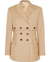 Altuzarra Double Breasted Pinstriped Wool Blend Blazer