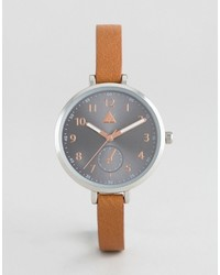 Asos Large Face Skinny Strap Watch With Gray Dial