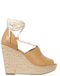 MICHAEL Michael Kors Michl Michl Kors Hastings Textured Leather Espadrille Wedge Sandals Beige