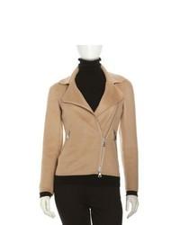 Tan Wool Biker Jacket